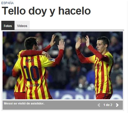 Messi y Tello en Diario Olé