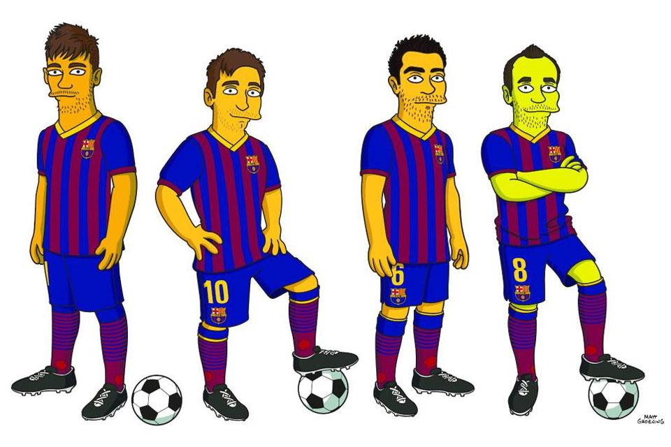 Neymar, Messi, Xavi e Iniesta - Simpsons