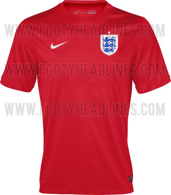 La camiseta suplente de Inglaterra en el Mundial de Brasil 2014