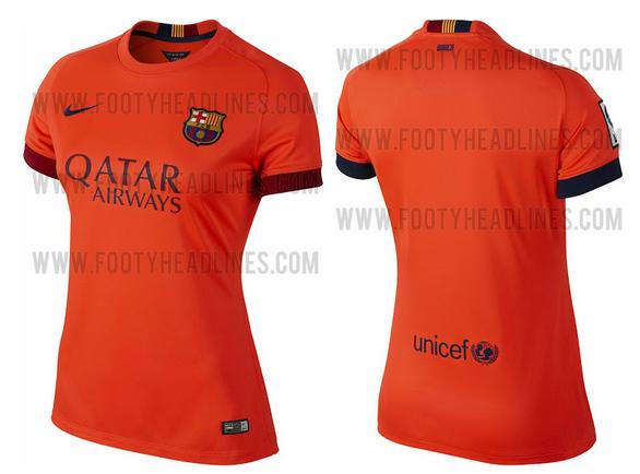 Camiseta suplente naranja del Barcelona 2014 - 2015