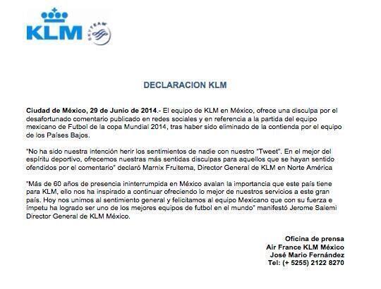 Carta de KLM pidiendo perdón por su burla a México