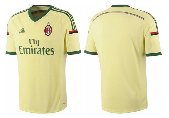 La tercera camiseta del Milan amarilla para la temporada 2014 - 2015