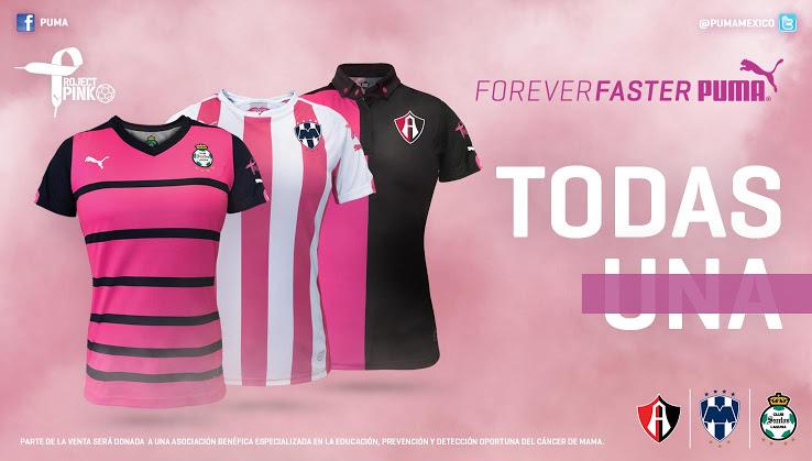 Atlas, Monterrey y Santos Laguna lanzan camisetas rosas