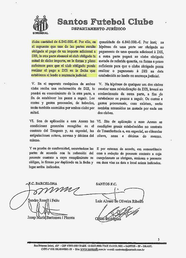 Contrato del fichaje de Neymar por el Barcelona