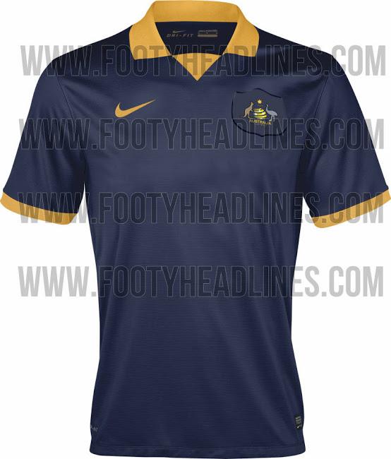 La camiseta suplente de Australia para el Mundial de Brasil 2014