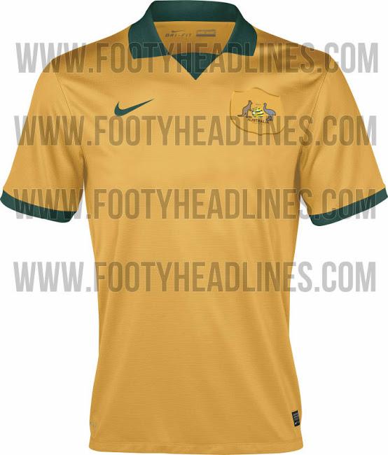 La camiseta de Australia para el Mundial de Brasil 2014