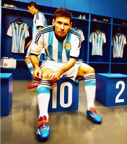 Messi con la camiseta de Argentina para el Mundial de Brasil 2014