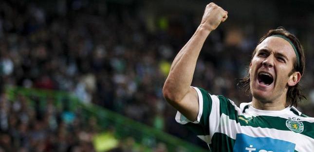 Diego Capel celebra un gol con el Sporting de Lisboa