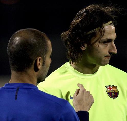 Zlatan Ibrahimovic y Pep Guardiola