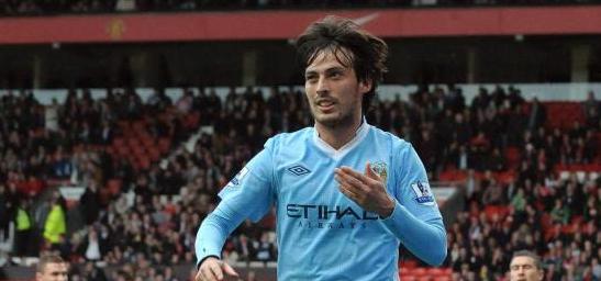 David Silva celebra el gol logrado en Old Trafford
