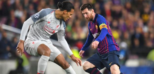 Virgil Van Djik marcando a Lionel Messi en la Champions League anterior. FOTO: AGENCIAS