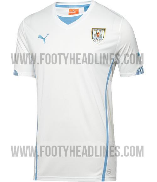 La camiseta de Uruguay suplente para el Mundial de Brasil 2014